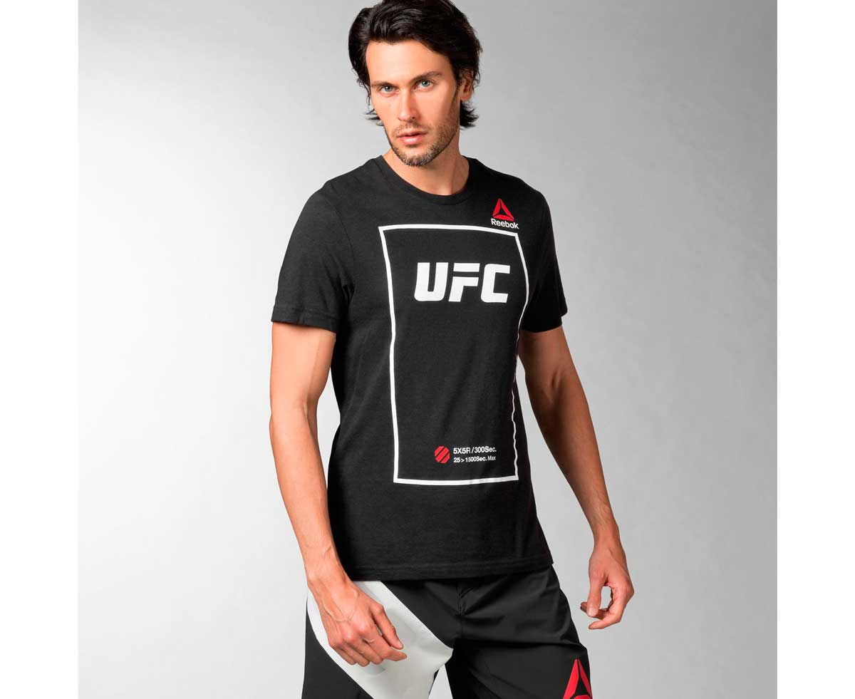 Футболка UFC Fan Short Sleeve Triblend Tee черно-белая