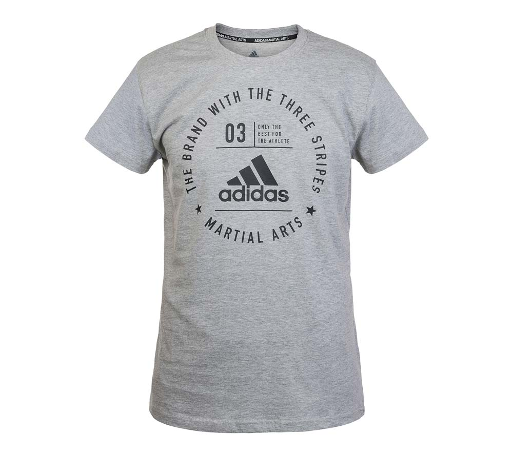 Футболка The Brand With The Three Stripes T-Shirt Martial Arts серо-черная