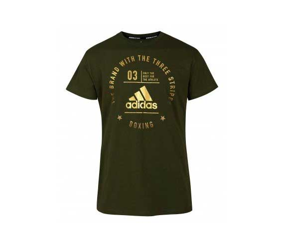 Футболка детская The Brand With The Three Stripes T-Shirt Boxing Kids зелено-золотая